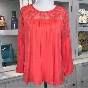 Hannah Top w/Lace & Bell Sleeves in Coral